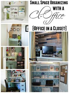Get organized in a small space with an office closet- or Cloffice - 15 fab ideas at The Happy Housie