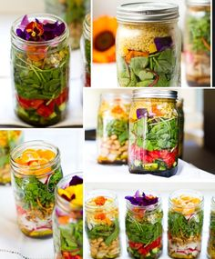 Tasty mason jar salad recipes you can make-ahead of time including spicy chicken, Mexican shrimp and avocado, roasted vegetables, canned salmon, sardines. Paleo Salad Recipes, Healthy Recipes, Jar Recipes, Whole30 Recipes, Lunch Recipes, Healthy Foods, Roasted Vegetable Salad, Roasted Vegetables, Vegetable Recipes