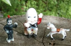 Humpty Dumpty Knight and Horse Miniature Bone China Figurines. A sweet, tiny nursery rhyme set for your collection. Save with code SPECIALSALE in my Etsy Shop today. Horse Bones, I Shop, My Etsy Shop, Humpty Dumpty, Vintage Nursery, Collectible Figurines, Nursery Rhymes, Bone China, Knight