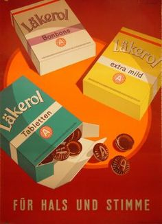 1950 Lakerol sweets Switzerland vintage advert poster