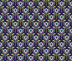 art deco tulips w/ turquoise hit on navy background w/ purple and gold highlights - for something small (pencil tin on your desk) and fun if you keep purple in with your turquoise.