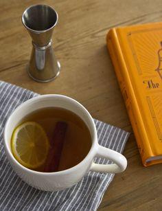The Hot Toddy - Bourbon or Rye, Honey or Maple Syrup, Lemon Wheel, Cinnamon Stick.