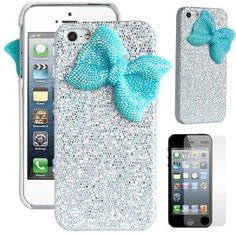Pandamimi ULAK(TM) Deluxe Sweety Girls Case Cover Decorated Bling Glitter Bow for iPhone 5 (Silver/Light Blue)
