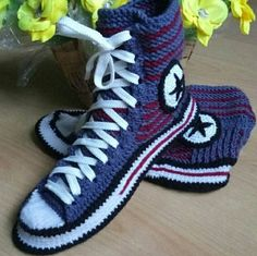 Knitted converse slippers Men s knitted house slippers Socks with sole  Men s socks slippers Crochet converse boots Home knitted slippers men 71c2a5c37b7