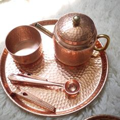 India Imported Copper Rose Gold Hammer Pattern Handmade Tray / Tea Tray / Bowl / Cup Teapot Decoration / Nordic Style Sugar Bowl, Bowl Set