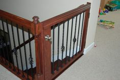 stair gate - homemade--for the kids playroom. Safety Gates For Stairs, Baby Gate For Stairs, Baby Gates, Dog Gates, Child Gates, Pet Gate, Staircase Gate, Stair Gate, Stairway Storage