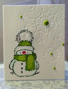 Snowy the stamp and Flurry the embossing folder form the basis for this handmade Christmas card. Frosted Stickles add fluff to the hat and enamel dots add some punch to each snowflake. Christmas Cards 2018, Homemade Christmas Cards, Xmas Cards, Homemade Cards, Holiday Cards, Christmas Crafts, Christmas Card Making, Green Christmas, Navidad Simple
