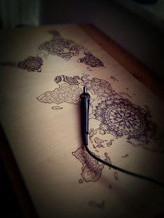 Mandala map - work in progress  #woodburning #pyrography #art #lace #workinprogress #mandala #worldmap