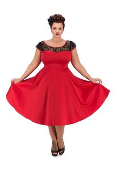 a696319f518f Hearts   Roses 50s Red Lace Swing Dress