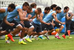 Luis Suarez of Uruguay warms up during a Uruguay training session