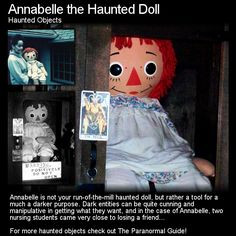 Annabelle the Haunted Doll. This is the REAL Annabelle, a Raggedy Ann Doll, but one with an interesting and sinister story. Head to this link for the full article: http://www.theparanormalguide.com/1/post/2013/01/annabelle-the-haunted-doll.html