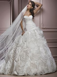 724365364d30 Strapless Rosette Skirt A-Line Princess Skirt Wedding Dress Gown (Custom  Order H2)