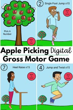 The apple themed digital gross motor game is an awesome addition to your teletherapy or distance learning activities!  Not only that, but you can also play this game in person.  It goes perfect during back to school time or in the fall.  Combine it with a Johnny Appleseed theme!  Your kids will LOVE this and so will you! Movement Preschool, Preschool Yoga, Fall Preschool Activities, Fine Motor Activities For Kids, Apple Activities, Learning Activities, Teaching Ideas, Physical Therapy School, Preschool Apple Theme