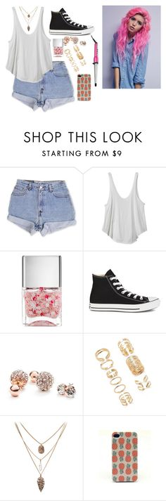 """""""Untitled #406"""" by ginadogs ❤ liked on Polyvore featuring moda, Levi's, RVCA, Nails Inc., Converse, GUESS, Forever 21 e Conair"""