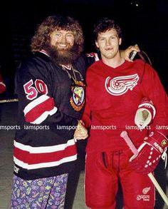 The time Bob Probert met wrestler Hillbilly Jim. Bob Probert, Red Wings Hockey, Detroit Sports, Detroit Red Wings, Cardinals, Nhl, Christmas Sweaters, Wrestling, Hillbilly