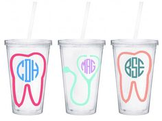 Personalized Monogram Tumbler Dentist Doctor or Dental Assistant by CaseysBoutique on Etsy (null)