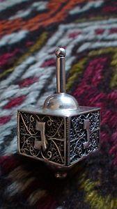 Antique Morocco Judaica Filigree Dreidel Sterling Silver