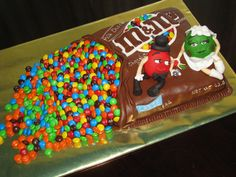 Made this for some friends who got married in June and we couldn't go to the wedding, they are coming over tonight. I trimmed it to seem like layers of m&m's are coming out of the bag...