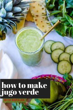 This #glutenfree #greenjuice is one of the most vibrant ways to start your day! It is delicious, packed full of green veggies like cucumbers, spinach, and celery, and naturally sweetened with fresh pineapple. Plus it also includes no pales or cactus paddle which has many health benefits including anti-oxidant properties. If you don't own a juicer, don't worry! You can easily make this with a blender and a strainer. #jugoverde #juice