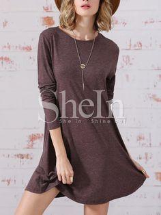Coffee Long Sleeve Jumpers Babydoll Casual Dress 11.99