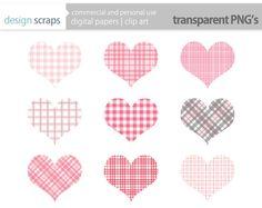 valentine pink plaid hearts clip art, valentine plaid heart clipart commercial use - pink, grey  - INSTANT DOWNLOAD. $3.50, via Etsy.