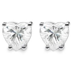 Charles & Colvard Sterling Silver 1.00 TGW Heart Classic Moissanite Stud Earrings