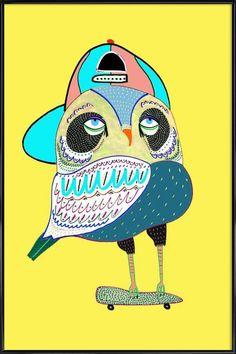 Owl Rad en Affiche sous cadre standard par Ashley Percival   JUNIQE