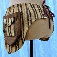 Steampunk utility belt - fancy tool belt - festival pockets - gold and brown stripes - size Large. $110.00, via Etsy.