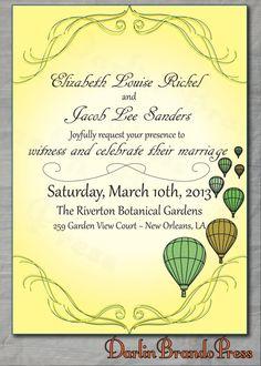 Hot Air Balloons Wedding Invitation