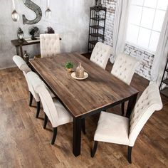 Shop Furniture of America Sheila Rustic Two-tone Dining Table - Black - On Sale - Overstock - 20831412 Farmhouse Dining Room Table, Dinning Room Tables, Dining Room Design, Modern Rustic Dining Table, Dining Sets, Black Dining Room Table, Narrow Dining Tables, Farmhouse Style Dining Table, Wooden Dining Table Designs