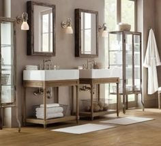 #CILSerenity the square sinks with the rustic wood and soft towels are the star of this shot.  To have just the one fit in my current bathroom and then to add rustic shelving in the same wood coloring would be fantastic