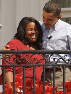A Glee-ful hug with Amber Riley!