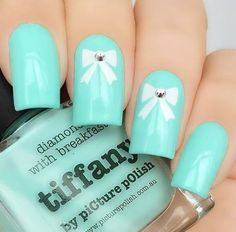 Tiffany blue nails inspired by tiffany co tiffany blue makeup 100 best nail arts that you will love 2017 tiffany blue prinsesfo Gallery