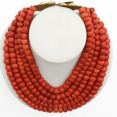 5 Strand 19th Century Red Coral Necklace On 18kg Clasp