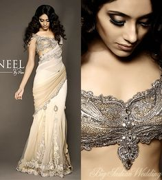 Bridal Wear Goes Sensuous chic blouse and sari Big Fat Indian Wedding, Indian Bridal Wear, Indian Wear, India Fashion, Asian Fashion, Indian Dresses, Indian Outfits, Indian Clothes, Pakistani Dresses