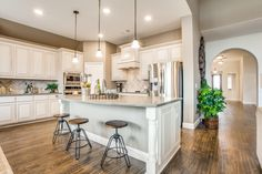 With a kitchen like this, we definitely understand why it is one of the most popular rooms in the house. Bloomfield Homes, Log Home Kitchens, New Home Builders, Kitchen Photos, New Homes For Sale, Log Homes, My House, Sweet Home, Envy