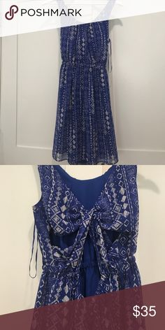 Patterned blue dress Blue dress wth geometric pattern and cutouts on the back. excellent condition! Urban Outfitters Dresses