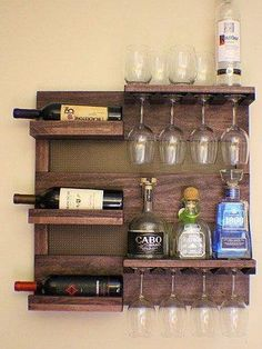 Rustic Dark Cherry Stained Wall Mounted Wine Rack with Shelves and Decorative Mesh, Wine and Liquor Shelf and Cabinet ON SALE Rustic Dark Cherry Stained Wall Mounted Wine Rack with by TheKnottyShelf Pallet Projects, Woodworking Projects, Diy Projects, Teds Woodworking, Woodworking Classes, Popular Woodworking, Woodworking Videos, Woodworking Patterns, Project Ideas