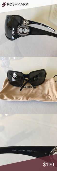 Black Chanel 6023 sunglasses, authentic Black Chanel sunglasses. Style 6023. In very good used condition with no scratches. Lenses do have some bubbling on the coating (pictured). Authentic, purchased at Saks Fifth Avenue in Naples, Florida. Comes with Chanel pouch. CHANEL Accessories Sunglasses