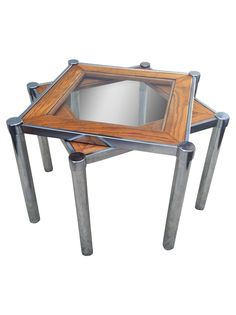 Chrome and Glass Stacking Side Tables - A Pair on Chairish.com