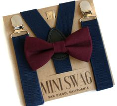 Marsala Bow Tie, Wedding Suspenders Navy, Boys Bow Tie Set, Ring Bearer Outfit, Toddler Bow Tie and Suspenders Set, Baby Boy Bow Tie, Marsala Wedding Ideas, Navy Wedding Ideas, Boys Bow Tie, Toddler Suspenders, Page Boy Outfit, Boys Braces