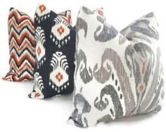 Pillow made from Nate Berkus fabrics Ahmar, El Convento, and Kopacki. Find the fabrics here: http://www.housefabric.com/Nate-Berkus-Fabric-Collection-C3638.aspx