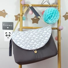 sac à langer lilaxel gris et nuages - www.lepetitmondedelilaxel.com