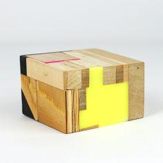 studio bryan ray Mixed media wooden box. geometric wood grain, yellow, pink