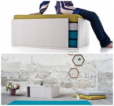 Living in a shoebox | Multifunctional bench can be converted into a table and seats