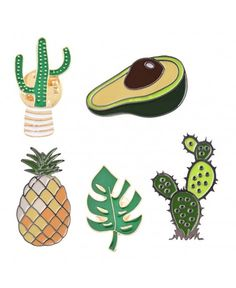 Pinback Buttons Badges Pins Tropical Palm Leaves Lapel Pin Brooch Clip Trendy Accessory Jacket T-Shirt Bag Hat Shoe