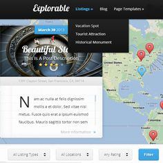 Explorable WordPress Theme for travel blogs or travel guide websites
