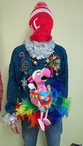 Ugly Christmas Sweater FLAMINGO Pink Joy Noel by UglySweatersForU ...