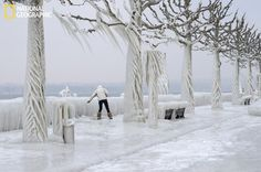 Amazing pic from Versoix, Switzerland--formed by strong winds off a lake and freezing temperatures.