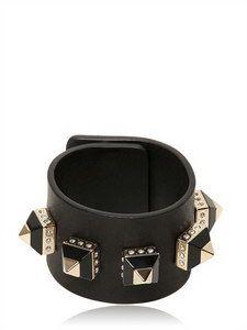 Givenchy - Leather Cuff With Pyramid Studs   FashionJug.com